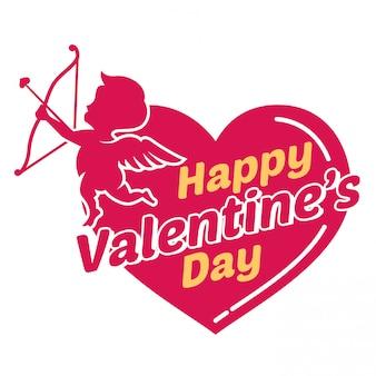 С днем святого валентина с сердцем и маленькая фея