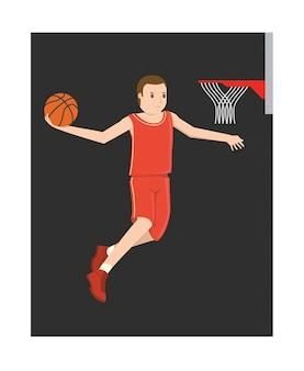 ジャンプする若いバスケットボール選手