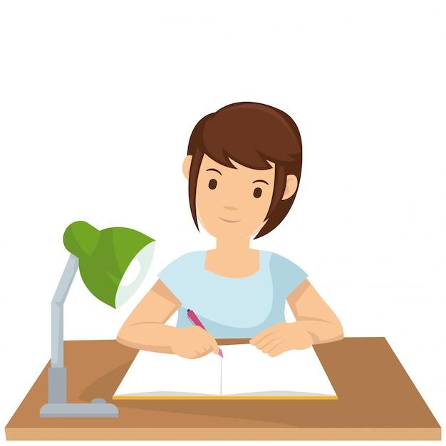 若い女の子がレッスンノートをまとめます