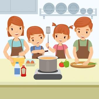 幸せな家族は日曜日の朝に台所で料理をしています