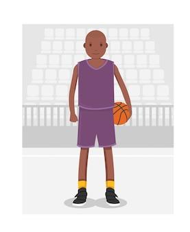青い制服の若いアメリカ人のアフリカのバスケットボール選手