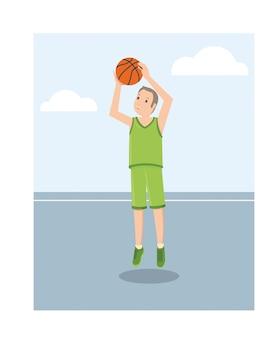 緑色の制服の若いアメリカ人のバスケットボール選手
