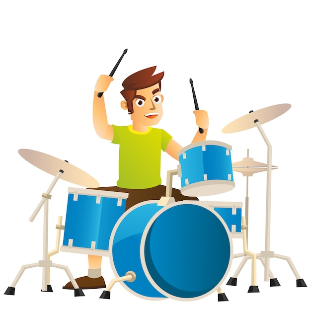 ドラムセットで遊んでいる若いドラマー非常に精神