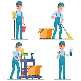 部屋全体を掃除する準備ができて多くの洗浄装置を持つプロ用務員のイラスト