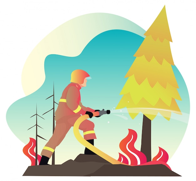 夏のシーズンが来るとき若い消防士の戦闘機は森の真ん中に炎と戦う