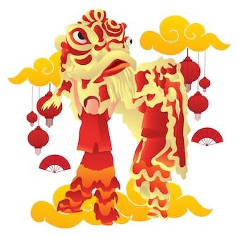 中国の旧正月でライオンダンサーのパフォーマンスのイラスト。