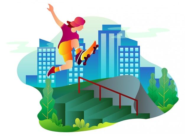 男性スケートボーダーのイラストは、日中に都市公園の階段にジャンプします。