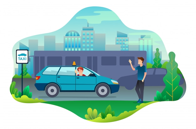 Таксист находит клиента после поиска.