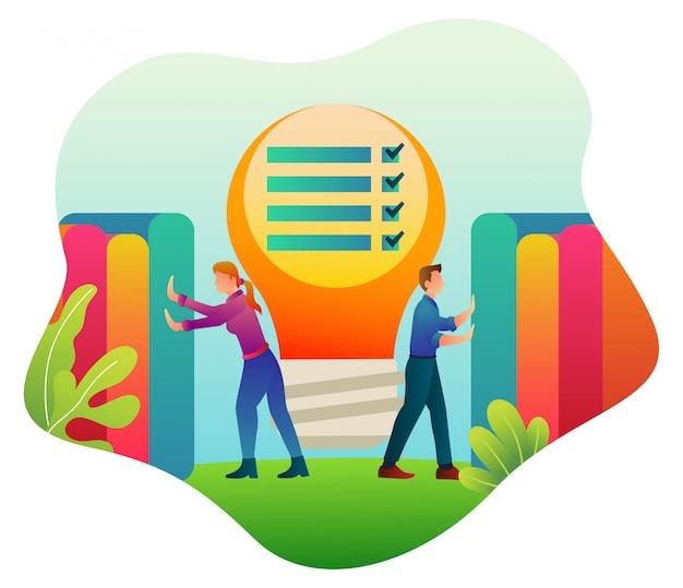 Иллюстрация совместной работы по созданию бизнеса, который занимается экономикой.