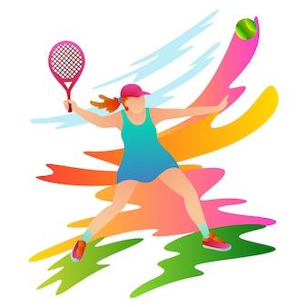 プロの女性テニスプレーヤーは、相手に向けられたボールを打ちます。