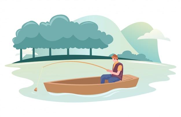 Рыбак ловит рыбу на лодке в реке
