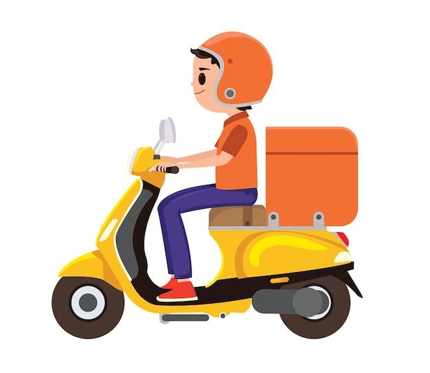 オレンジ色の配達のスクーターに乗っている少年