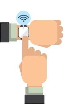フラットベクトルスタイルのスマートな腕時計を着ている現代人
