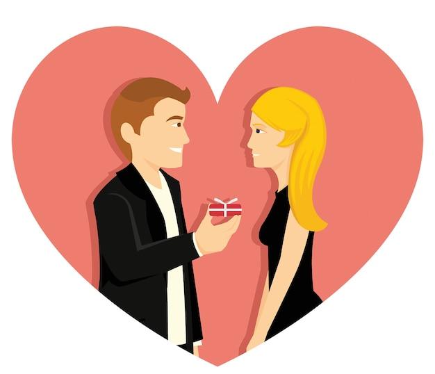 若い男がバレンタインに彼の女の子の友人を提案