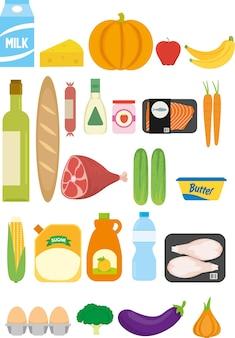スーパーマーケットからの食料品のセット
