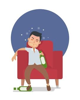 若い酔っぱらいの男はあまりにも多くのアルコールを飲む