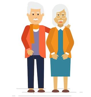 公園に笑っている幸せな老夫婦