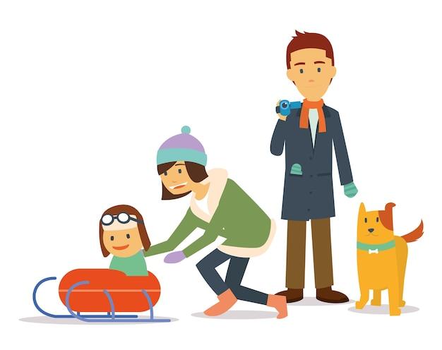 冬の家族休暇犬と一緒にスキーをする