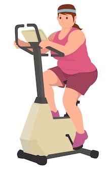 Толстая женщина делает тренировку с потерей веса