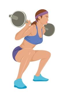 女性は重量挙げ運動をしています