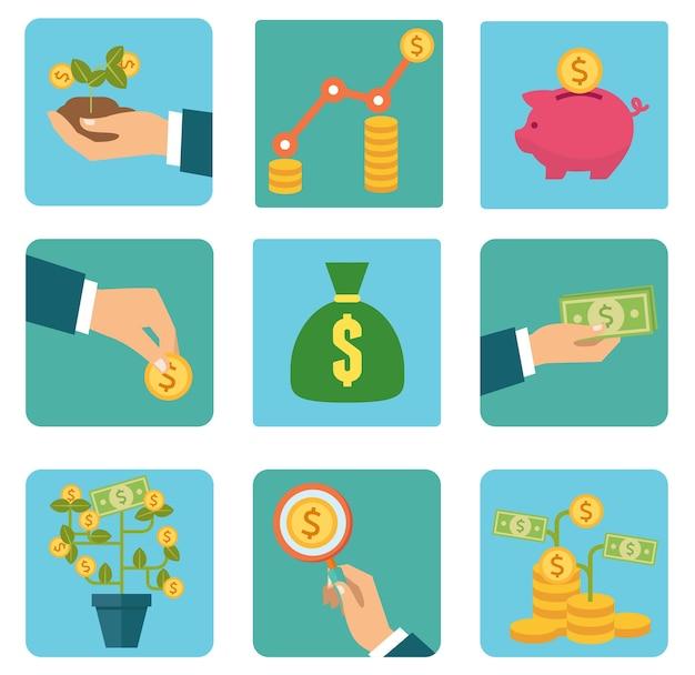 お金と投資フラットベクトルアイコン