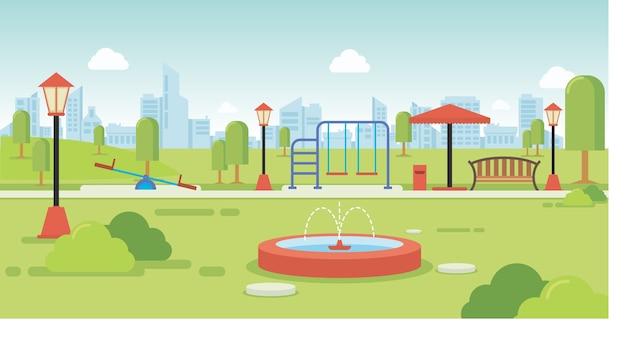 Городской парк с парковыми скамейками и детской площадкой