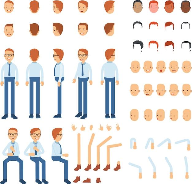 男性の体の一部と様々な頭のポーズ