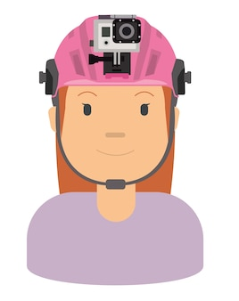 ヘルメットを着た女性