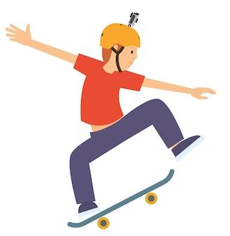 アクションカメラを身に着けている彼のスケートボードでジャンプする若い男