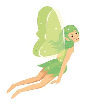 Молодая довольно ангельская девушка-фея с зеленым костюмом