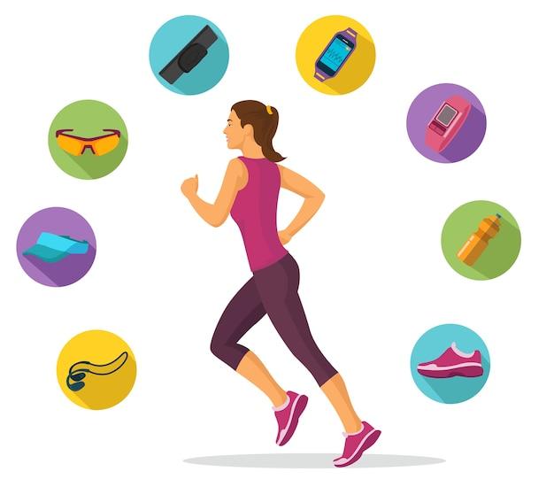 女性の走りと追跡