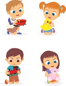 おもちゃを遊ぶ子供たちのセット