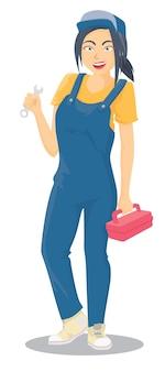 作業の準備ができている女性の整備士