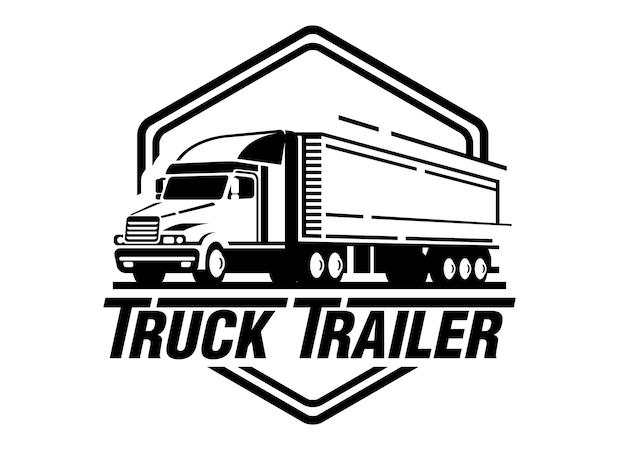 白い背景にトラックのトレーラーのロゴのイラスト