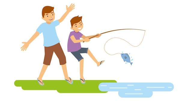 湖で釣りをしている父と息子