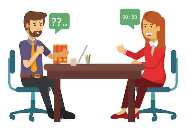 Два бизнесмена ведут переговоры о бизнесе