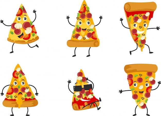 多くのポーズを持つかわいいピザのキャラクターのセット