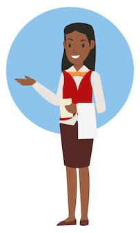 ユニフォームを着てアフリカの女の子ウェイター