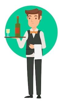 レストランのウェイターがワインとビールを顧客に持ってきます