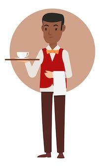 アフリカのウェイターがコーヒーをゲストに持ってきます