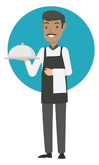 シニアウェイターはレストランで最高の食べ物を持っています