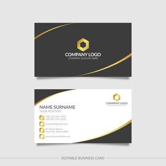 Черный и золотой элегантный шаблон визитной карточки с абстрактными формами