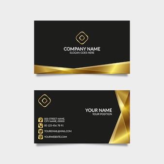黒の背景とモダンなゴールデン名刺