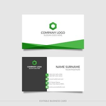 Редактируемая визитная карточка с абстрактными зелеными формами
