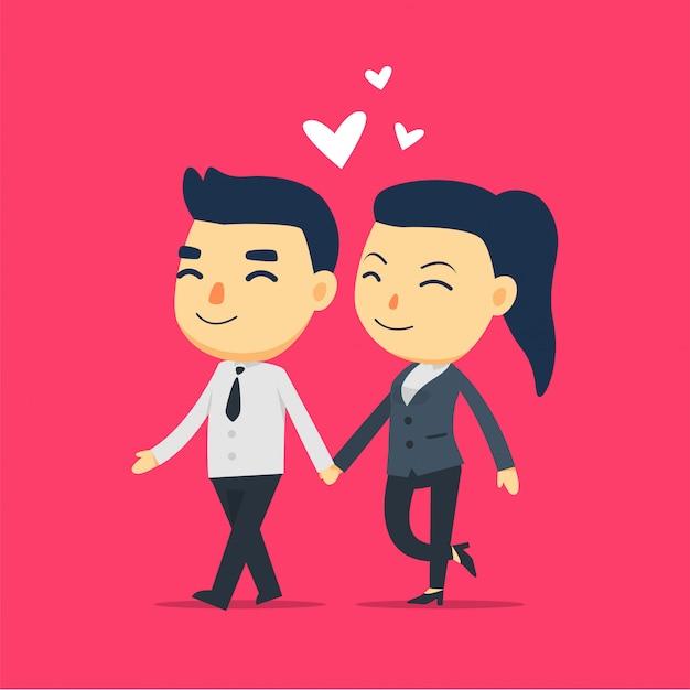 男と女の従業員が一緒に歩いています。