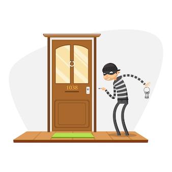 泥棒がドアを開こうとしています。孤立したベクトル図