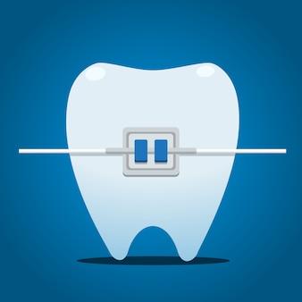 Зуб с металлическими брекетами. отдельные векторные иллюстрации