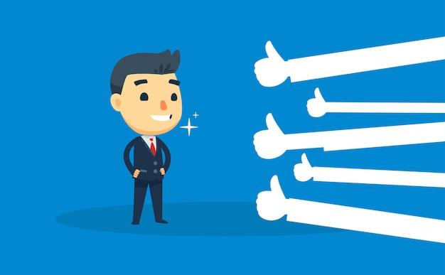 ビジネスマンは、親指を立てて喜んでいます。ベクトル図