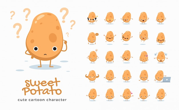 Набор мультяшных изображений картофеля. иллюстрация.