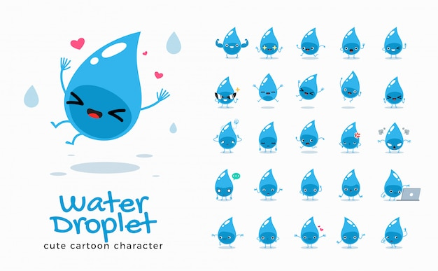 水の漫画画像のセット。図。
